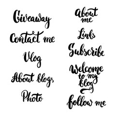 Hand drawn typography lettering phrase Giveaway, Photo, Vlog, Contact me, Follow me, About blog, Subscribe, Links