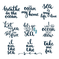 Hand drawn typography lettering phrases set about sea, ocean and summer time.