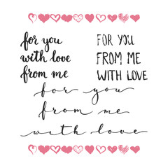 Set of hand drawn phrases about love: for you, from me, with love. Photo overlays signs. Wedding photo album
