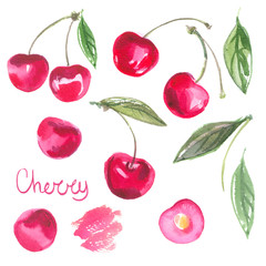Set cherries narisovannoy watercolors on white background. Watercolor berries. Colored fruits. Cherries isolated.
