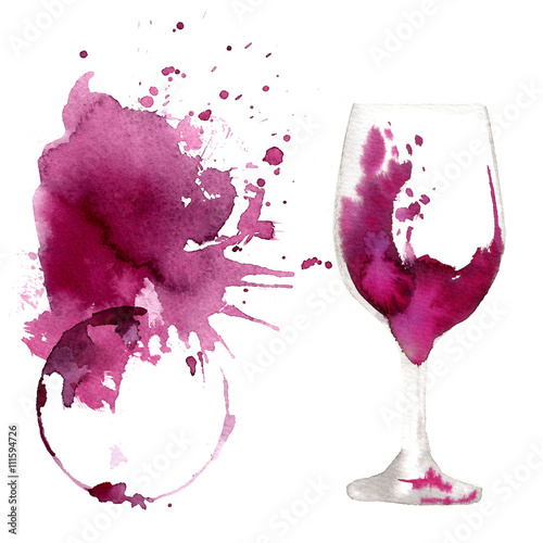 quotwine glass painted with watercolors on white background