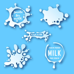 Milk blots set. White smudges splashes drops on blue background. Organic natural farm fresh milk labels vector collection. Splash and blot design shape creative illustration. Milk splat set. Milk drop