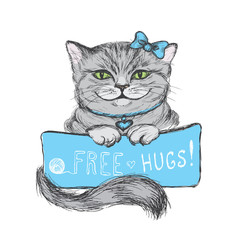 Cute hand drawn  card, cat and inscription- free hugs, vector illustration