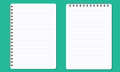 Blank spiral notepad notebook with lines. Flat color and Isolated.