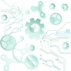 Abstract technology background. Cogwheels theme. Vector illustra