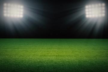 empty soccer field at night