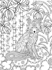 Zentangle stylized fox in fantasy garden.
