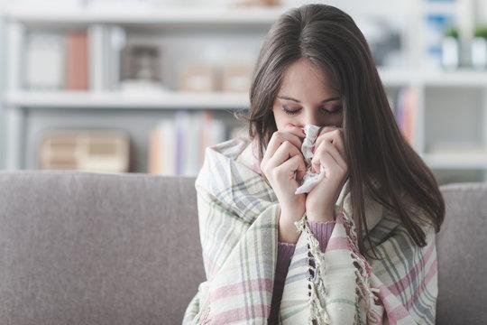 Sick woman with flu