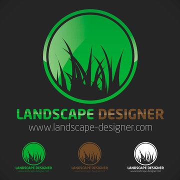 logo jardinier gazon pelouse herbe vert