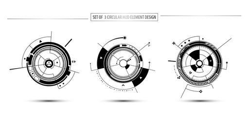 set of circular digital technology communication concept hud element design