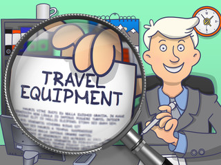 Man Welcomes in Office and Showing Paper with Offer - Travel Equipment. Closeup View through Lens. Multicolor Doodle Illustration.