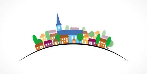 Village silhouette couleurs sur courbe Fototapete
