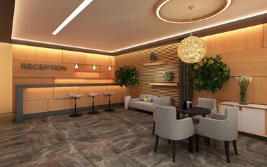 Warm Hotel Lobby with Wood Wall