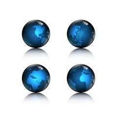 set of 4 logo icon blue globe with world map elements design on white background