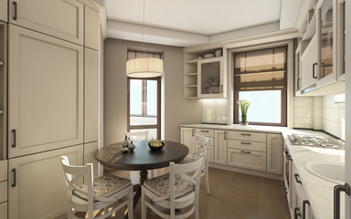 White Kitchen with Roubd Table