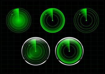 Set of green radar vector illustration