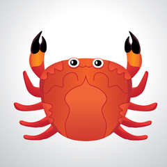 red colored crab with patch of reflected light abstract vector illustration