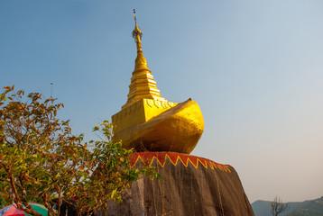Small Gold stone. Golden rock. Kyaiktiyo pagoda. Myanmar