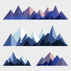 Mountains low poly style illustration. Vector set of polygonal mountain ridges.