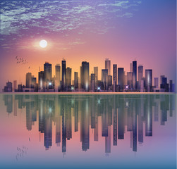 Modern night city landscape in moonlight or sunset, with reflection in water and cloudy sky