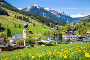 View over Saalbach village in summer, Austria Wall mural