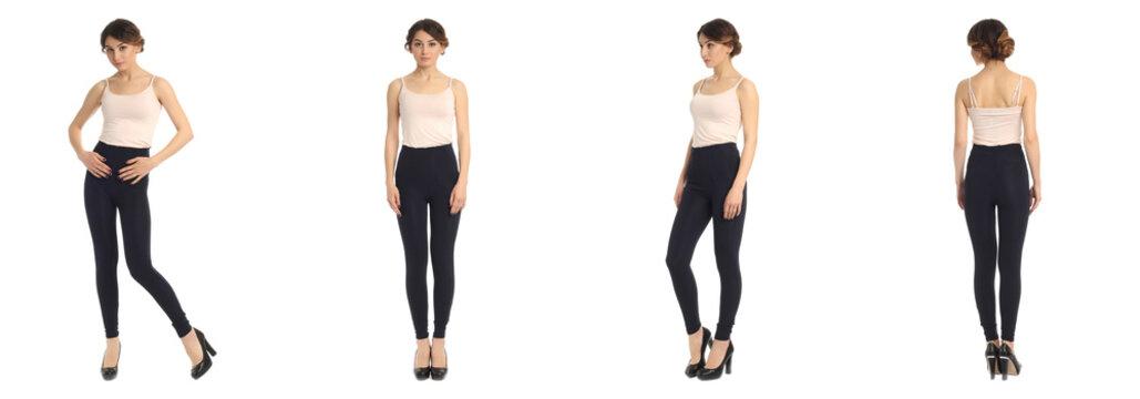 Full length portrait of beautiful teen in leggins