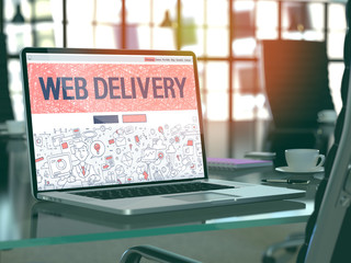 Web Delivery Concept. Closeup Landing Page on Laptop Screen in Doodle Design Style. On Background of Comfortable Working Place in Modern Office. Blurred, Toned Image. 3D Render.