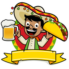 Mexican man holding a cold beer and a taco.