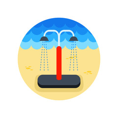 Summer beach pool shower icon. Summer. Vacation