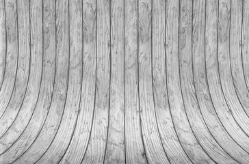 Wood wall curve texture background. Abstract curved construction made of gray wooden planks and bolts. Curved background. Wooden wall and floor.