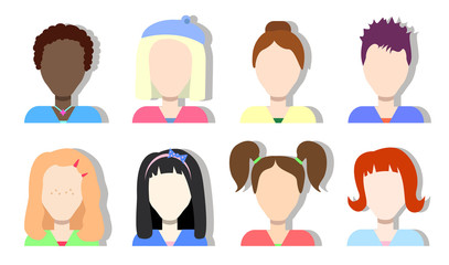 Faceless avatar icons girls and women