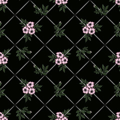 Floral seamless pattern in retro style, flowers  black  background.