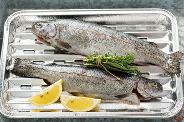 Rainbow trout ready to be grilled