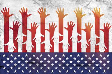 USA flag and hands - Grunge
