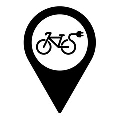 electro bicycle bike e-bike pin location icon black on white bac
