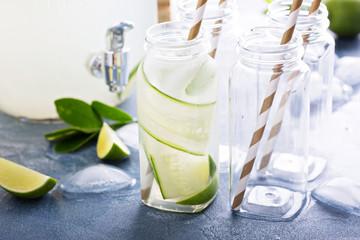 Lime and cucumber lemonade in bottles
