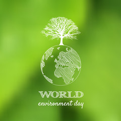 World environment day vector card, poster on blur green backgrou