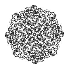 Round element for coloring book. Black and white floral pattern. Mandala. Vector illustration.