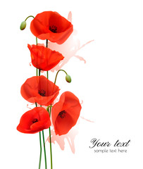 Fototapete - Nature summer background with red poppies. Vector.