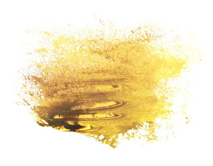 photo yellow brown grunge brush strokes oil paint isolated on white background