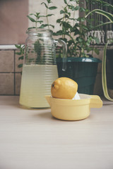 Carafe of lemonade in the kitchen