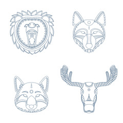 Animal (dear, wolf, fox, elk) portraits. Decorative isolated vector illustration.
