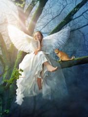 Canvas Print - Angel with a cat sitting on a tree. Digital illustration.