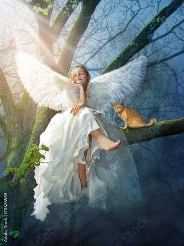 Canvas Prints Angel with a cat sitting on a tree. Digital illustration.