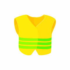 Yellow vest icon, cartoon style