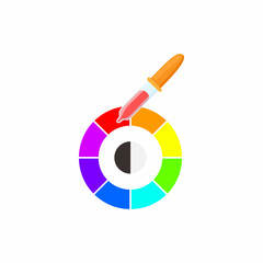 Palette of paint samples with pipette icon
