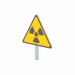 Radiation sign icon in cartoon style