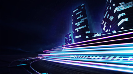 grand city racetrack with colorful speed flare