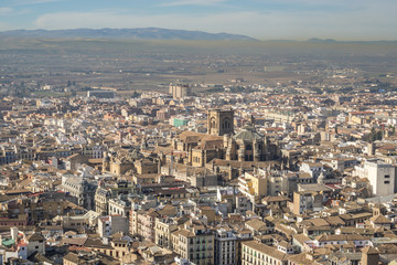 Ancient city of Granada. View from the Alhambra, Andalusia, Spain