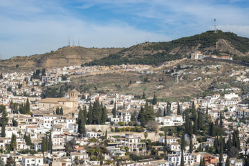 Ancient city of Granada. Central District Albayzin. View from the Alhambra, Andalusia, Spain
